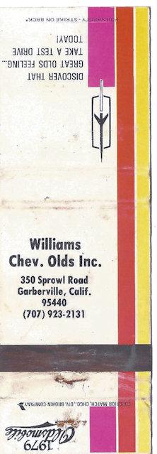 Williams Chevrolet-Olds matchbook 1979