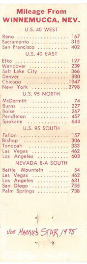 Mileage chart inside the Winners Inn matchbook