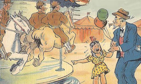 WWII cartoon postcard, servicemen hogging the merry-go-round