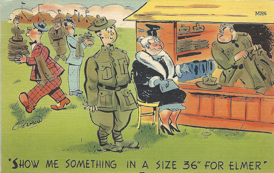 WWII Cartoon postcard- Elmer's mom takes him to boot camp