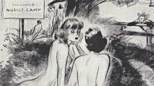 Nudist camp ladies in an old Barbasol ad, for no apparent reason.