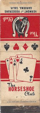 Gardena Horseshoe club matchbook