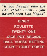 Inside matchbook from Las Vegas Club casino