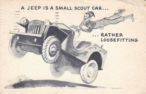 WWII funny postcard, making fun of a jeep.