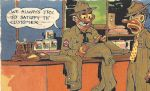 WWII cartoon postcard Army