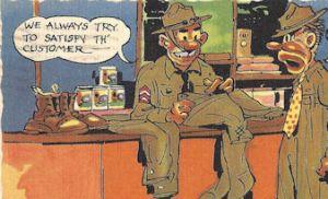 WWII cartoon postcard Army