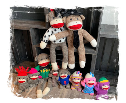 Sock Monkey Family collectibles for three bucks each!