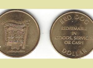 Red Dog metal saloon dollar token