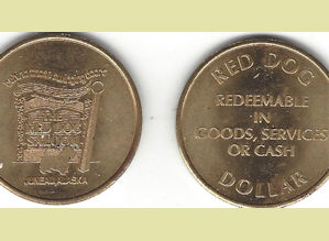 Red Dog metal saloon dollar token
