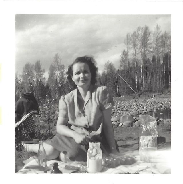 1950's picnic in rocky meadow.