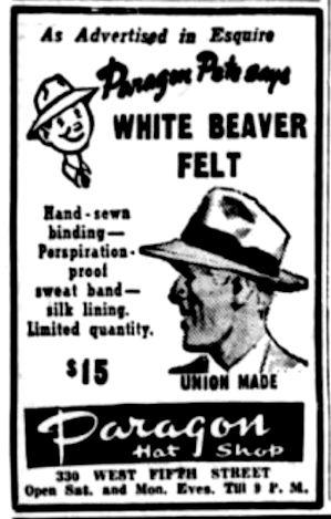 Paragon Hat Shop ad