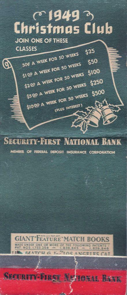 1949 Giant Santa matchbook, Christmas Club