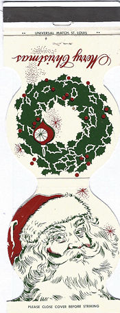 Santa and Wreath matchbook cover