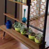 MCM doorway room divider shelf unit