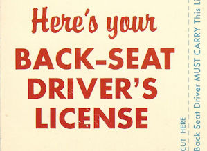 Example back seat driver license