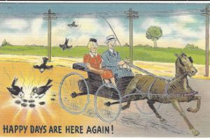 Happy days are here again/birds eating horse poop postcard