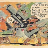 WWII comic postcard cannons