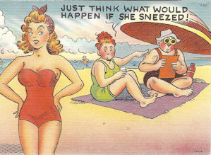 Beach scene humor postcard