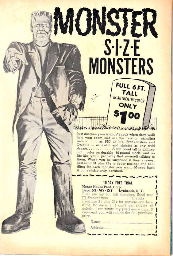 Comic book ad for six foot monster