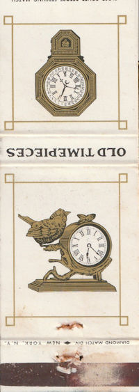 """""""OLD TIMEPIECES"""" book matches"""