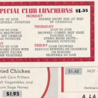 Ricky's 1948 restaurant menu