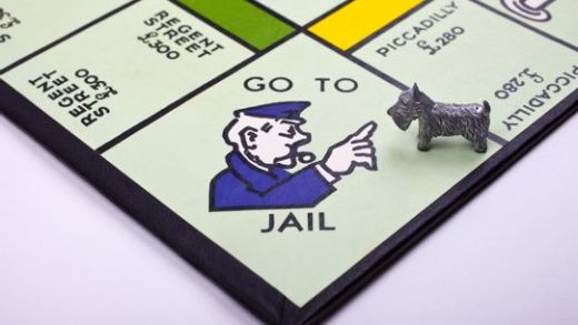 Monopoly dog goes to jail