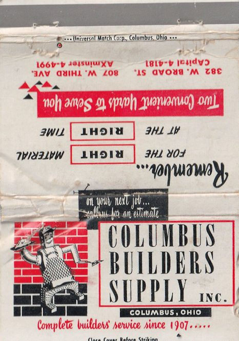 old Columbus Builder's Supply matchbook cover.