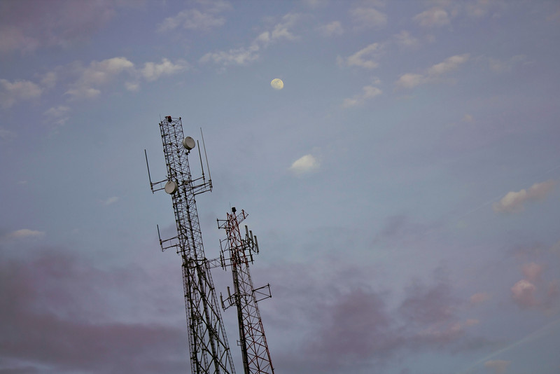 Evening cellscape with rising moon