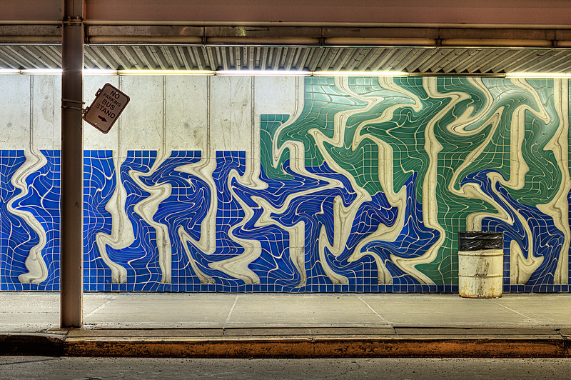 Bus stand graffiti tile