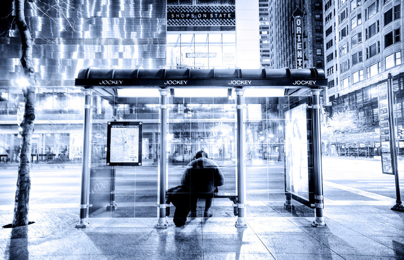 The permanent man at the bus stop