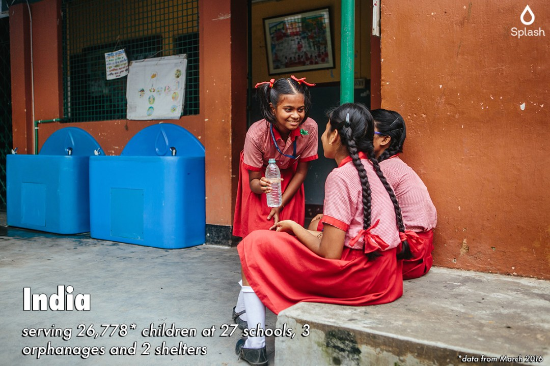 Splash serving 26,778 children at 27 schools, 3 orphanages and 2 shelters in India