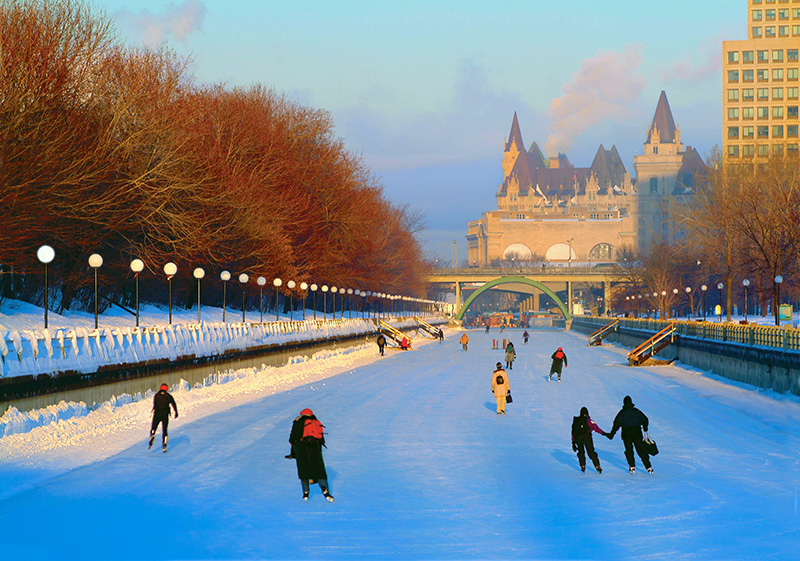 people ice skating during one of the Canada winter festivals