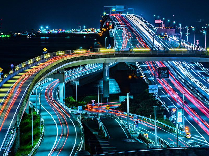colorful road patterns at night