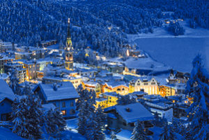 St. Moritz, one of the best places to visit in Switzerland, in the snow at night