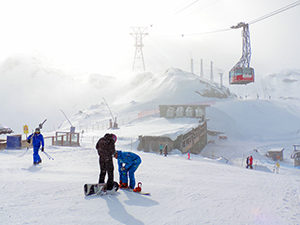 people on a ski slope in Switzerland