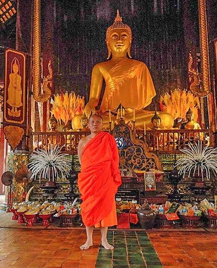 Budhist monk in a temple
