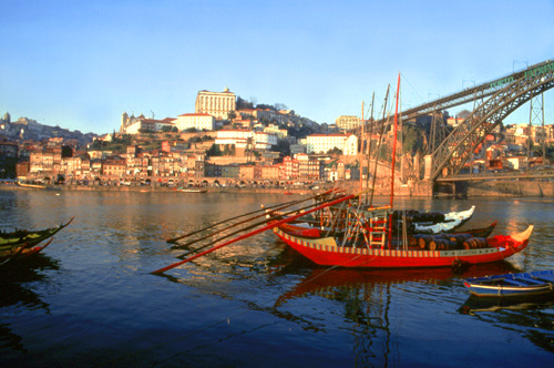 boats on a river in Portugal