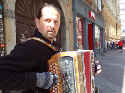 Street musician, Copova Street, Ljubljana
