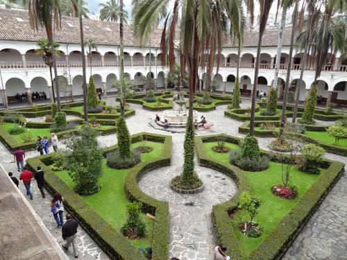 a courtyard in Quito, Ecuador