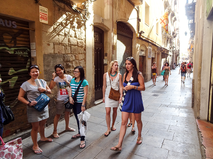young women walking in the Gothic area - one of the best things to do in Barcelona