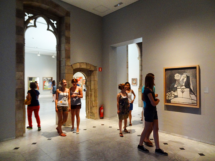people in a the Picasso museum - one of the best things to do in Barcelona