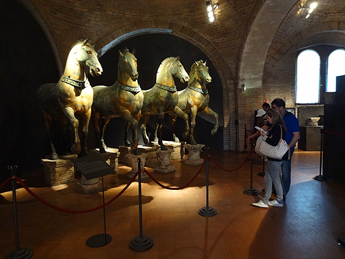 The original four life-size bronze horses, now in the museum St. Mark's Square of St. Mark's Basilica