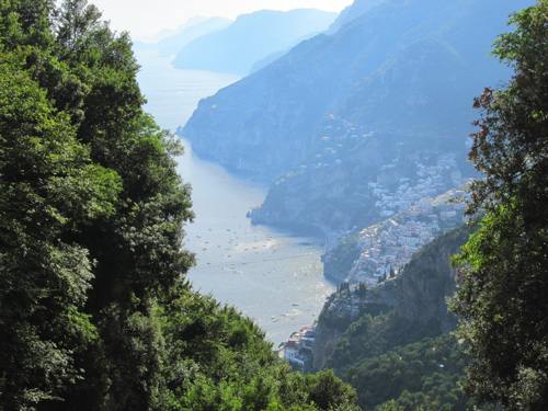 Looking down on Positano from a Nocelle high above