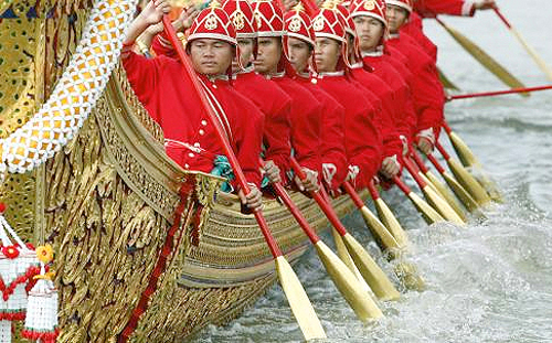 Oarsmen in the Thai Royal Barge Procession