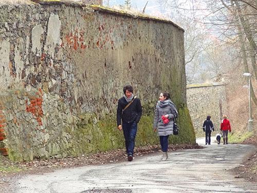 Walking near the castle gardens in Cesky Krumlov