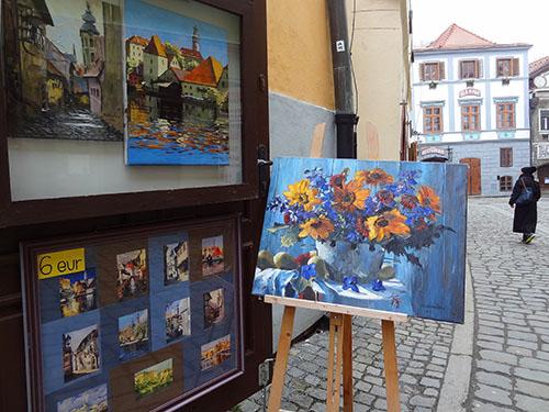 An art gallery in the inner town of Cesky Krumlov