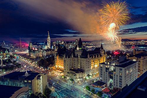 fireworks over a city - Canadian summer festivals