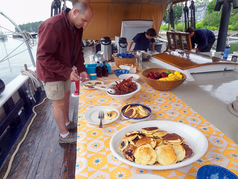 Breakfast aboard one of the windjammers in Maine