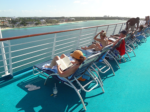 The deck above Majesty of the Seas' pool in the Bahamas