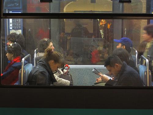 on the Paris Metro en route to Ile Saint-Louis